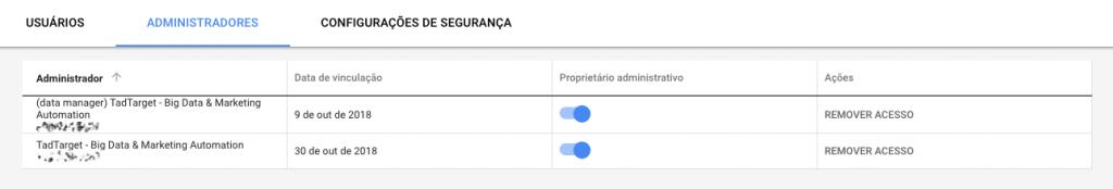 Página de administradores no Google Adwords