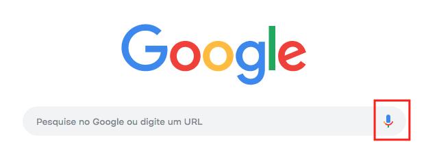 imagem do site de pesquisas google com destaque no icone do input speech